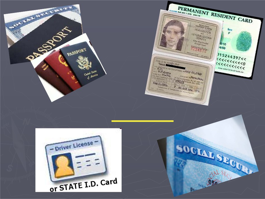 A picture of a passport, identification, and social security card