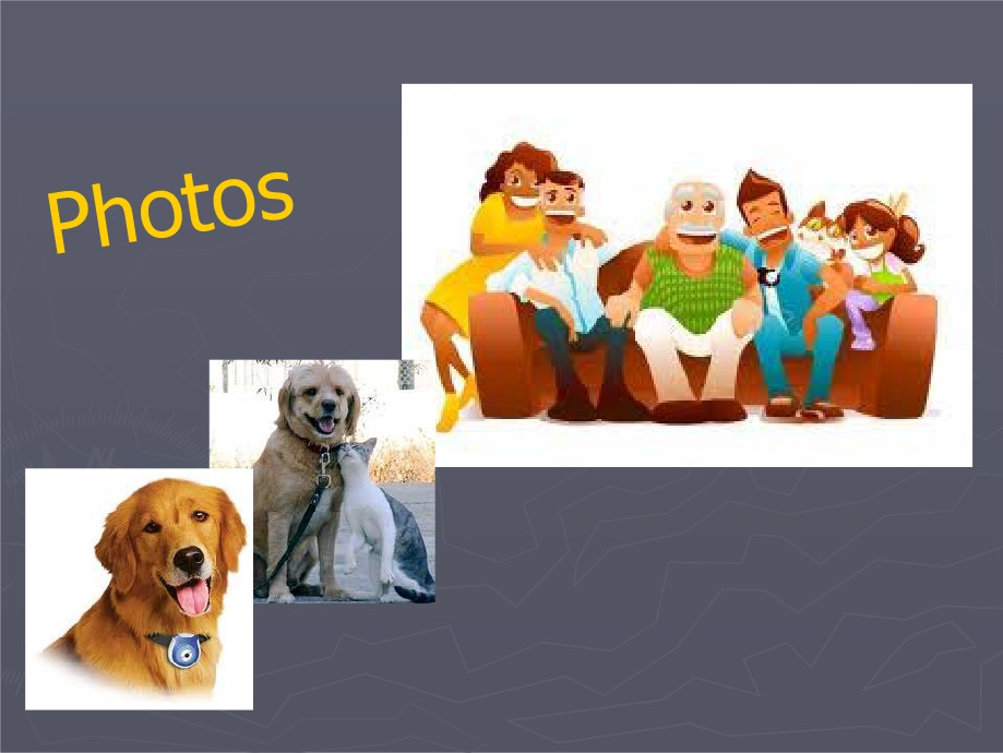 Picture of a family with a dog, picture of a dog, and a picture of a dog and cat