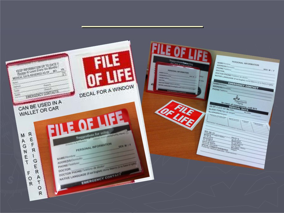 A picture of a File of Life card