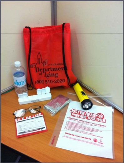 Picture of a GoKit, which includes: Glasses, water, medicine, a flashlight, file of life card