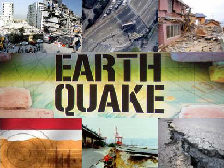The words Earthquake with pictures of earthquake aftermaths