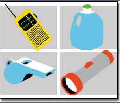 Picture of Flashlight, Whistle, Gallon of Water, and a Radio