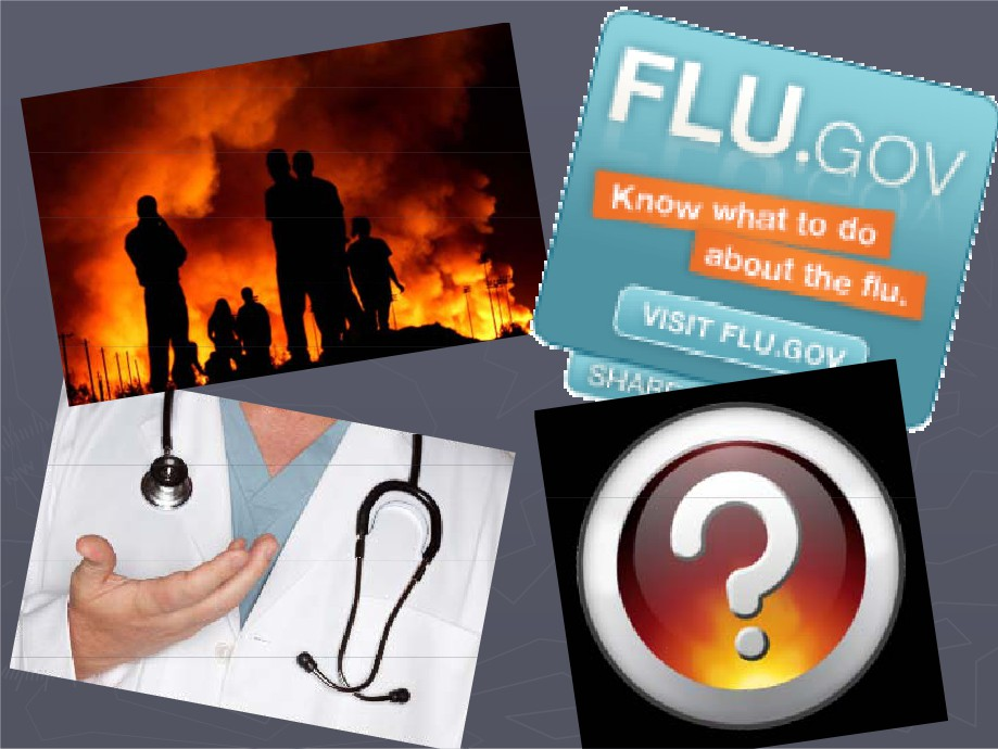 Picture of Fire, a sign warning about the flu, a doctor, and a question mark