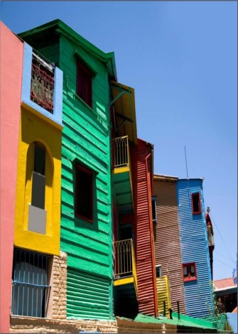 Picture of colorful two-story houses
