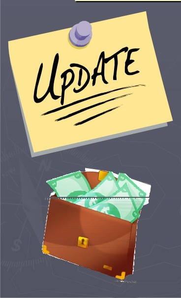 "Sticky Note with the word ""Update"" and a wallet of cash"
