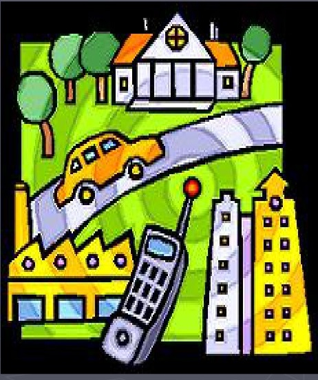 Illustration of a car, phone, and buildings amidst seismic activity