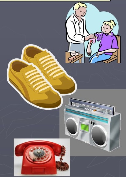 Picture of a doctor attending a girl, shoes, radio, and a telephone