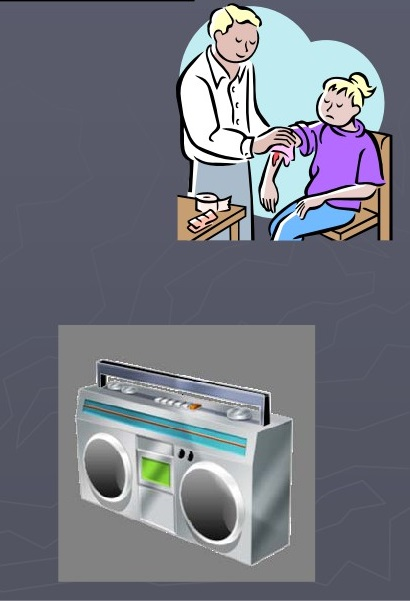 Picture of a doctor attending a girl and a radio